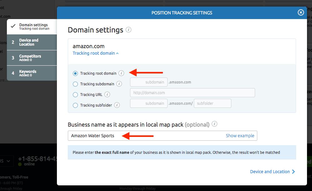 configuración dominio en Semrush
