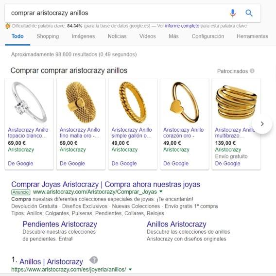 resultados google anillos